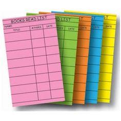 Books Read List Card for Filofax