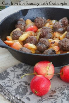 A surprise bounty of perfect little crabapples and some delicious elk sausage come together in this yummy and healthy dish.