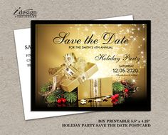 Holiday customer appreciation invitations printable christmas printable christmas or holiday party save the date gift exchange party invitation save the dates solutioingenieria Choice Image