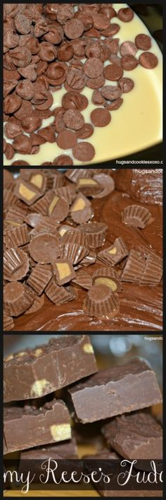 Reese's Slow Cooker Fudge - OMG Creamiest fudge ever! I will be making this fudge next week with goat milk.I've never used a slow cooker, I have to try! Crock Pot Desserts, Slow Cooker Desserts, Just Desserts, Delicious Desserts, Yummy Food, Slow Cooker Fudge, Fudge Recipes, Candy Recipes, Dessert Recipes