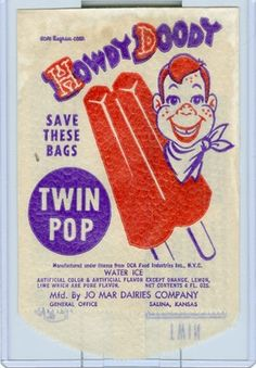 Vintage Howdy Doody Twin Pop Ice Cream Bag Cover