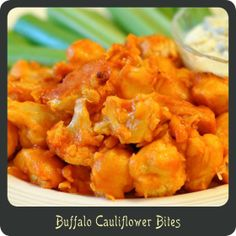 Recipe—Buffalo Cauliflower Bites. Skip the buttermilk and butter. Maybe toss in olive oil, roast, then toss in buffalo sauce. Could also top with toasted panko.