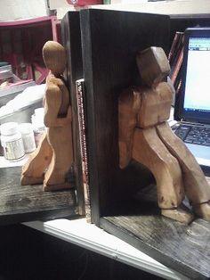 Wood carving People Book Shelf