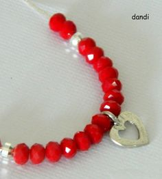 red and silver necklace.heart pendant and Red by dandiallmyheart, ₪120.00