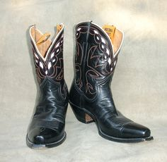 Vintage Nocona Black & Cream Boots  C.1940 This pair was exactly like the pair I received from my Grandfather.