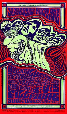 Jefferson Airplane, Quicksilver Messenger Service and Dino Valenti at the Fillmore in San Francisco, 1967.  By Wes Wilson.  Thanks for sharing, Professor Poster.