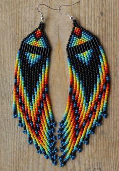 Blue Rainbow Hand Beaded earrings Source by yeltatziejulia Beaded Earrings Native, Beaded Earrings Patterns, Indian Earrings, Fringe Earrings, Jewelry Patterns, Beaded Necklace, Bracelet Patterns, Seed Bead Jewelry, Bead Jewellery