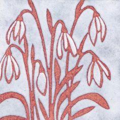 Snowdrops in enamel on copper