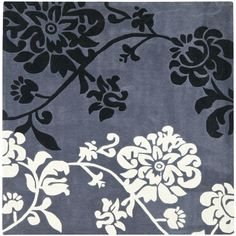 Safavieh Handmade Modern Art Floral Shadows Dark Grey/ Multi Polyester Rug (5' Square)