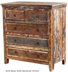"42"" T Dresser 5 Drawer Solid Reclaimed Wood Distressed Rustic Finish Handcrafted"