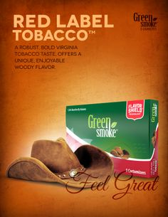 Red Label Tobacco: The robust, bold taste of Red Label™ is similar to the flavor of classic cigarette tobacco. The bold Virginia taste offers a unique, enjoyable woody flavor. Electronic Cigarette, Smoke, Green, Food, Self, Blond, Vaping Mods, Eten, Smoking