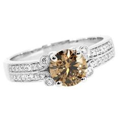 Jewelry Point - 1.32ct VS2 Champagne Diamond Engagement Ring 18k White Gold, $3,590.00 (http://www.jewelrypoint.com/1-32ct-vs2-champagne-diamond-engagement-ring-18k-white-gold/)
