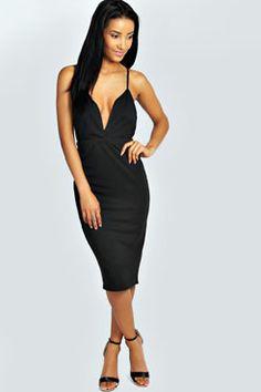 Layla Strappy Plunge Neck Midi Bodycon Dress at boohoo.com