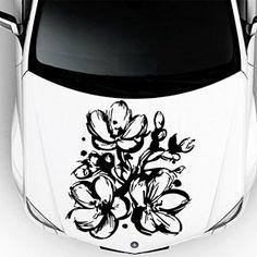 Car Decals Hood Decal Vinyl Sticker Sakura Flower Floral Auto Decor Graphics OS105