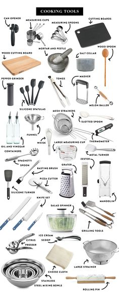 : The Ultimate List of Kitchen Essentials The Essentials for a Great Kitchen if you Love to Cook! See them all on The Fresh Exchange. Kitchen Utensils List, Cooking Utensils, Kitchen Gadgets, Kitchen Appliances, Kitchen Items List, Baking Appliances, Kitchen Utensil Organization, House Gadgets, White Appliances