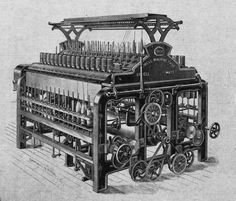 Spinning Frame:  Date- 1768  Creator- Richard Arkwright  Impact- For spinning thread/yarn from wool/cotton, mechanically.