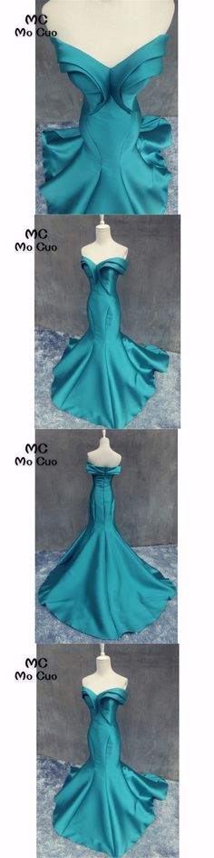 Popular 2018 New Teal Prom dresses Long Pleat Draped Satin Vestidos de fiesta Sweep Train Formal Evening Dress for Women