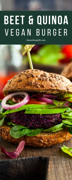 Check out this delicious vegan beet and quinoa burger patty thats crispy on the outside but soft and rich on the inside. All topped off with a zingy lime avocado and red onion topping. Vegan Bbq Recipes, Wrap Recipes, Burger Recipes, Vegan Dinners, Grilling Recipes, Healthy Recipes, Vegan Grilling, Barbecue Recipes, Barbecue Sauce