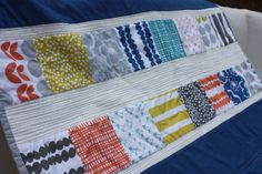 Modern Baby Quilt in Blue and Citron 34 x 50 by LizEllenHandmade, $85.00