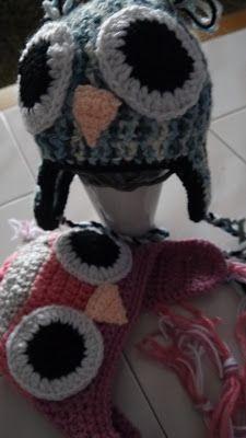 MOJE TWORY: no i znowu sowy:) czapki dla bliżniaków
