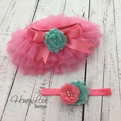 SET Coral Pink tutu skirt ruffle bloomers diaper cover, shabby chiffon Mint/Aqua flower headband bow, newborn infant toddler baby girl birthday photo shoot by HoneyLove Boutique