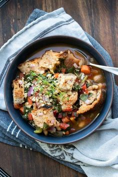 This vegan Ribollita Soup is a hearty and delicious Tuscan classic. Full of vegetables and loaded with flavor you'll want more than one helping I guarantee it! Healthy Soup Recipes, Beef Recipes, Whole Food Recipes, Vegan Recipes, Dinner Recipes, Cooking Recipes, Family Recipes, Salad Recipes, Vegetarian Soup