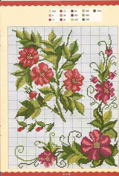 This Pin was discovered by vus Cross Stitch Borders, Cross Stitch Rose, Cross Stitch Flowers, Cross Stitch Charts, Cross Stitch Designs, Cross Stitching, Cross Stitch Patterns, Ribbon Embroidery, Cross Stitch Embroidery