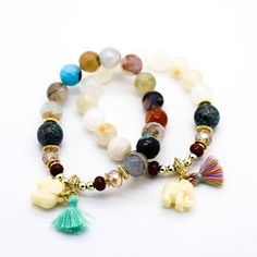 - Yellow Gold Plated - Semi precious stone beads - Stretchable bracelet