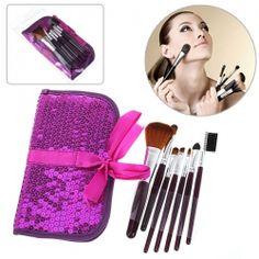 $5.81 Fashion 7PCS Soft Make-up Brushes with Elegant Purple Bag