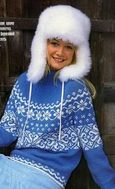 Свитер с круглой жаккардовой кокеткой спицами Knitting Stitches, Hand Knitting, Knitting Patterns, Handgestrickte Pullover, Icelandic Sweaters, Winter Hats, Winter Jackets, Hand Knitted Sweaters, Fair Isle Knitting