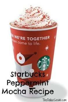 Starbucks Peppermint Mocha Recipe - one of my favorite Christmas drinks Starbucks Holiday Drinks, Starbucks Recipes, Christmas Drinks, Coffee Recipes, Drink Recipes, Copycat Recipes, Starbucks Coffee, Christmas Coffee, Starbucks Cafe Mocha Recipe