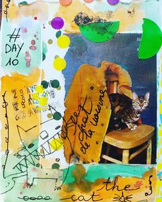 Day 10 le chat #thecat #cat #chat #100dayproject #100daysofmyajcollage #artjournal #artjournaleveryday #artworkoftheday #page #collagepaper #collage #journal #journalpage #scrap #scketchbook #papercollage #instacollage #mixedmediaartjournal