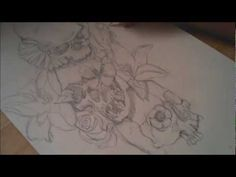 Skulls And Flowers Tattoo Design - Speed Drawing from: http://darkdesigngraphics.co.uk/tattoo-design/