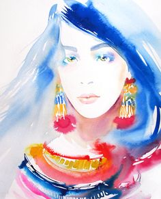Blue Hair Fashion Illustration Art Print Watercolour Bright