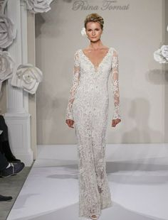 V-Neck Sheath Wedding Dress  with No Waist/Princess Seams in Beaded Embroidery. Bridal Gown Style Number:32614372