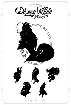 FREE Disney Villain Silhouettes v.1 - Designs By Miss Mandee. Time to put the 'trick' in 'trick or treat' with this positively wicked Disney decor. Maleficent, Jafar, Ursula, Captain Hook, Cruella de Vil, and Hades silhouettes in both pdf and svg cut files. #HalloweenTime