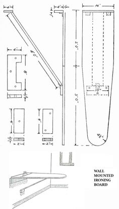 vintage DIY woodwork plans - wall mount ironing board I have my ironing board mounted in the wall behind a long slim door. This is a GREAT spacesaver!!
