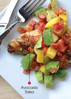 Grilled Chicken with Mango and Avocado Salsa is an easy and inexpensive dinner you can throw together at the last minute. Alternatively, dice your chicken leftovers, mix them with salsa, and add this to a bed of lettuce for a lunch salad!