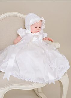 Love this lace! Kate Christening Gowns for Girls | One Small Child