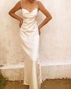 Crystal White Cowl Neck Backless Silk Gown by alashanghai silk studio Backless White Bridal Mulberry Silk Cowl Neck Slip Dress Pretty Dresses, Beautiful Dresses, Elegant Dresses, White Formal Dresses, Silk Formal Dress, Elegant White Dress, Awesome Dresses, Simple Dresses, Slip Wedding Dress