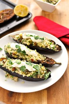 Middle Eastern Roasted Eggplant with Couscous - 15 min prep for this fragrant, melt-in-your-mouth eggplant with fresh couscous. Photo shows it with yoghurt on top but I've also provided a vegan Tahini Drizzle as an alternate. I hope you enjoy it!