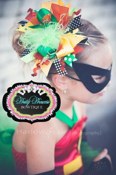 Batman and Robin....Robin Bling Over the Top Hair Bow with matching headband...halloween, costume, photo props on Etsy, $19.99