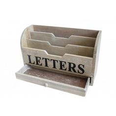 Gisela Graham Wooden LETTERS Tidy with Drawer