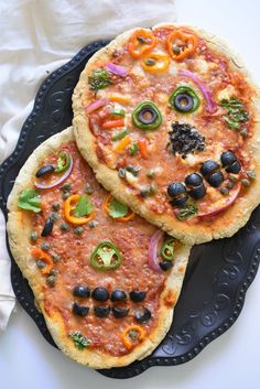 Day of the Dead Skull Pizzas made with a Top 8 allergy free pizza crust.