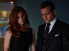 Pictured: (l-r) Sarah Rafferty as Donna Paulsen, Gabriel Macht as Harvey Specter -- (Photo by: Shane Mahood/USA Network)
