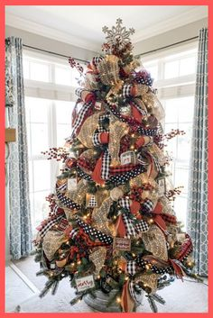 Christmas tree ideas using ribbon, buffalo check and polka dot! Christmas tree ideas using ribbon, buffalo check and polka dot! Christmas Tree Light Up, Rainbow Christmas Tree, Ribbon On Christmas Tree, Beautiful Christmas Trees, Christmas Tree Themes, Christmas Wreaths, Christmas Ideas, Christmas Time, Xmas Decorations