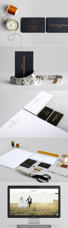 Roberto Revilla branding corporate identity business card letterhead letterhead stationary enveloppe acc minimal fashion clothing design letterpress gold foil