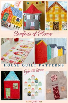 House quilts are so sweet. Find the prettiest free patterns here! Amish Quilt Patterns, House Quilt Patterns, House Quilt Block, House Quilts, Pattern Blocks, Quilting Ideas, Quilting Projects, Quilt Blocks, Sewing Projects