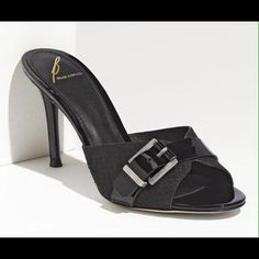 B Brian Atwood Maritima Slide Black Sandal 10 NWT Still available but unable to ship until 1-30.  B Brian Atwood 'Martima' Slide Black Sandals.  Decorative buckle on top.  10 NWT B Brian Atwood Shoes