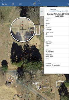 The editors tasked with recording data in the cemetery used Collector for ArcGIS, which allowed them to zoom in on high-resolution imagery to get accurate grave marker placements.